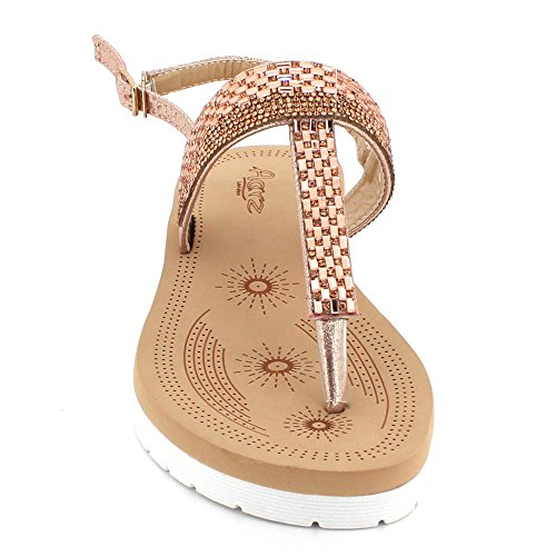 AARZ Gems Summer Sandal Size Shoes Lightweight Pink Casual Comfort Wedge Ladies Diamante Slingback Womens LONDON 1SFWrqA1