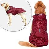 Didog Reflective Dog Raincoat,Packable Rain Poncho Rainwear Clothes for Medium Large Dogs,Wine Red,3XL