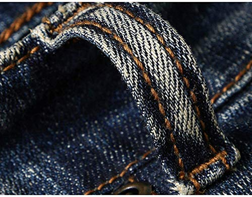 De De Moda Hombres Sin Jeans Los Cinturón Ropa De Bordados Pantalones Vaqueros Azul Cintura Casuales Media Vintage Pantalones Rectos 56qWgwxf