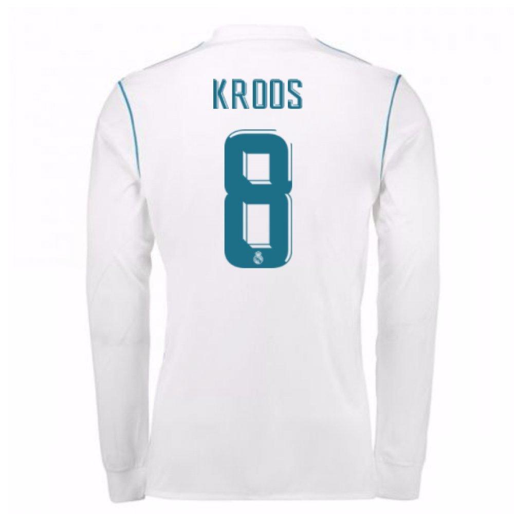 2017-18 Real Madrid Long Sleeve Home Football Soccer T-Shirt Trikot - Kids (Toni Kroos 8)