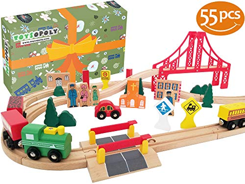 Deluxe Wooden Train Set - Wooden Train Tracks Full Set, Deluxe 55 Pcs with 3 Destination Fits Thomas, Brio, IKEA, Chuggington, Imaginarium, Melissa and Doug - Best Gifts for Kids Toddler Boys and Girls