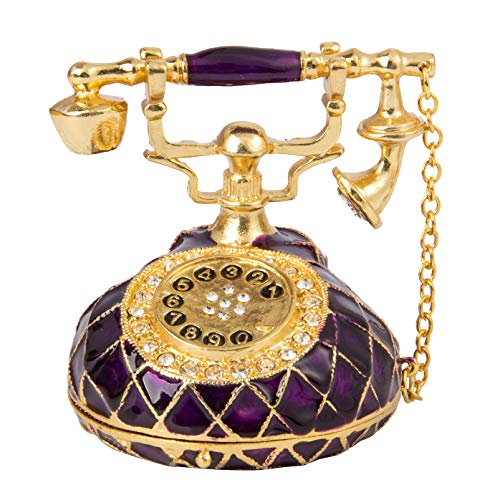 QIFU Vintage Style Hand Painted Purple Telephone Shape Jewelry Trinket Box with Rich Enamel and Sparkling Rhinestones | Unique Gift for Home Decor | Best Ornament for Your Collection