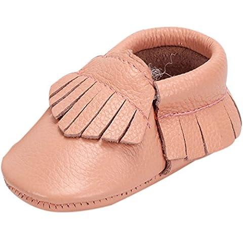 FireFrog Unisex Baby Genuine Leather Fringe Solid Moccasins Boots Prewalker Crib Shoes Pink 12-18 - Leather Baby Moccasins