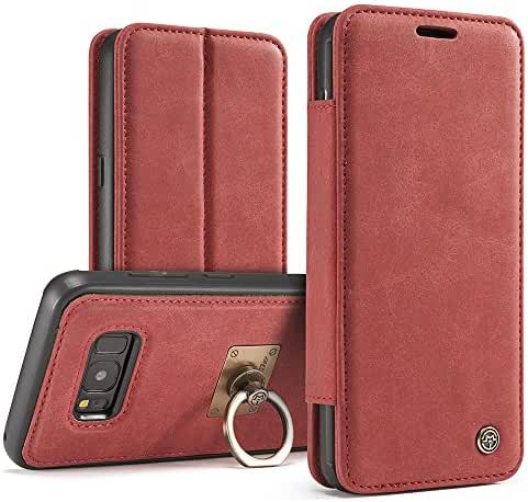 Phone Case with Ring Stand Wrist Strap Magnetic Genuine Leather Wallet Phone Case for iPhone Samsung Galaxy