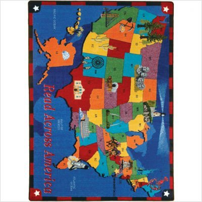 Joy Carpets Kid Essentials Geography & Environment Read Across America Rug, Multicolored, 5'4'' x 7'8''