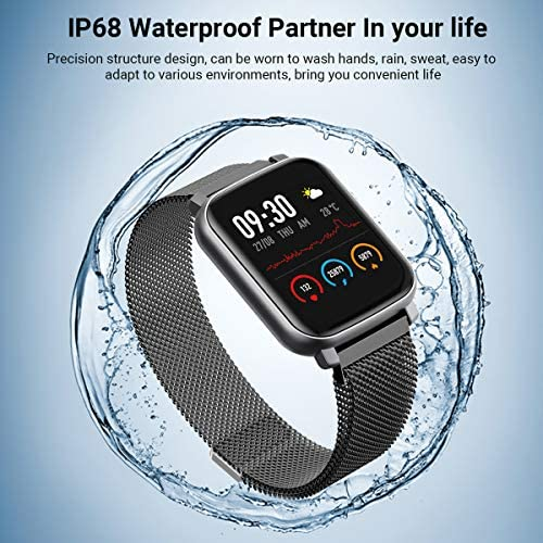 Anmino Smart Watch with Heart Rate Monitor BP Fitness Tracker IP68 Waterproof Activity Tracker Full Touch Screen Smartwatch Sleep Monitor Calorie Step Counter SMS Call Notification(Black Steel) 51Lp6iDcKPL