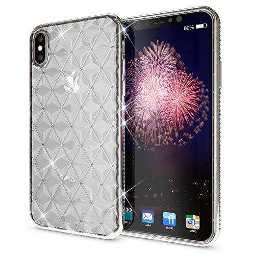 (NALIA Rhinestone Case for iPhone X XS, Ultra-Thin Silicone Back-Cover Crystal Diamond Pattern, Protective Slim Skin Shockproof Gel Bling Phone Protector Bumper for Apple i-Phone XS X, Color:Silver)
