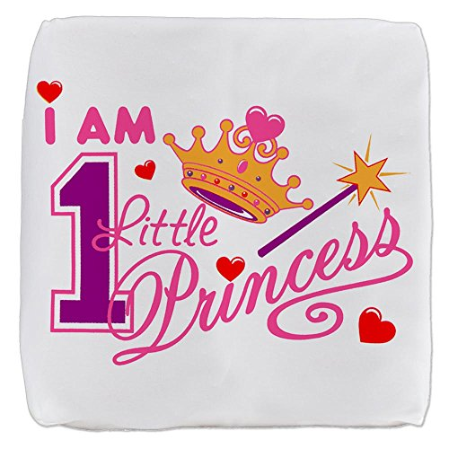 (13 Inch 6-Sided Cube Ottoman I Am One Little Princess Crown)