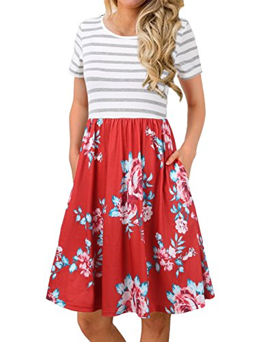 FANVOOK Casual Dresses for Women,Summer Mini Floral Hawaii Vocation Dress Red XL
