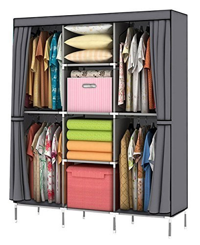 Storage Wardrobe Closet - YOUUD Wardrobe Storage Closet Clothes Portable Wardrobe Storage Closet Portable Closet Organizer Portable Closets Wardrobe Closet Organizer Shelf Wardrobe Clothes Organizer Standing Closet Gray