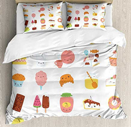 - Bruyu5se Food Duvet Cover Set Twin Size - Dessert Concept Sketches Ice Cream Donut Cake Honey Cupcake Chocolate Everything Sweet - Decorative 3 Piece Bedding Set with 2 Pillow Shams - Multicolor