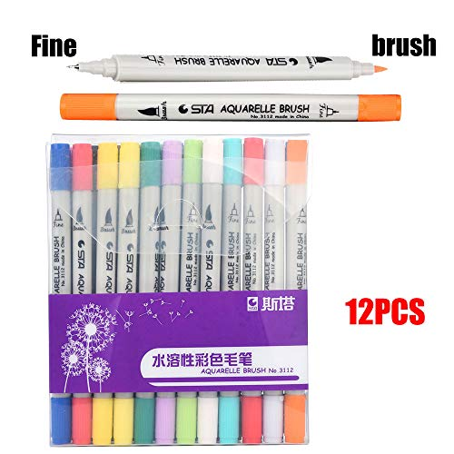 Ouniman 24 Colors Dual Tip Brush Marker Pens Fine Tip Markers & Brush Highlighter Pen Set for Adult Coloring Books, Art, Sketching, Calligraphy, Manga, Bullet Journal -