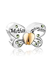 Charmed Craft 925 Sterling Silver Mother Daughter Jan-Dec Birthstone Butterfly 2 Charms Beads For Charm Bracelets