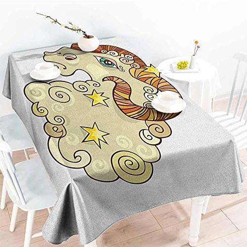 familytaste Zodiac Aries,Custom tablecloths Cartoon Comic Style Ram Animal Fluffy Funny Cosmic Character with Yellow Stars 60