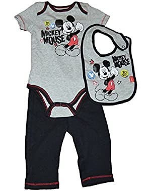 Disney Infant Mickey Mouse 28 Textured Gray 3 Piece Outfit 0/3M