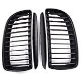 e90 black grill - 2X Matte Black Euro Front Upper Kidney Grille Grill LH RH Kit Replacement for BMW Car 2005-2008 E90 Pre-Facelift