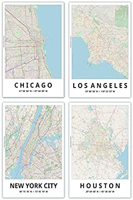 Amazon.com: City Map Posters, 11x17 Inches, Set of 4, Modern ...