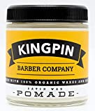 Organic Hair Pomade, Satin Finish, by Kingpin Barber Co. | All-Day Flexible Hold | Medium Shine | Signature Scent, 4.4oz.