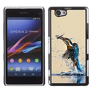 // PHONE CASE GIFT // Duro Estuche protector PC Cáscara Plástico Carcasa Funda Hard Protective Case for Xperia Z1 Compact D5503 / KINGFISHER BIRD & FISH /