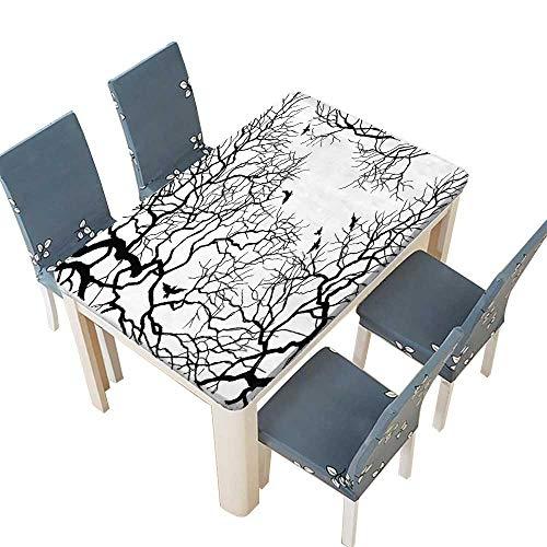 PINAFORE Indoor/Outdoor Spillproof Tablecloth Sous la vue du ciel d'arbre Wedding Restaurant Party Decoration W65 x L104 INCH (Elastic Edge)