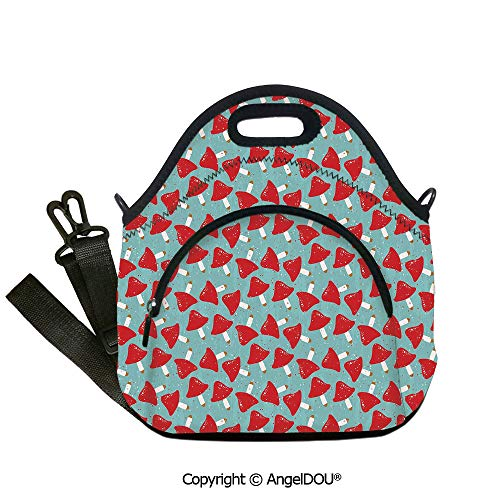 AngelDOU Mushroom waterproof neoprene lunch bags Grungy Display with Vivid Color Toadstool Amanita Autumn Forest Inspired Outdoor Travel Picnic Beach Party.12.6x12.6x6.3(inch)]()
