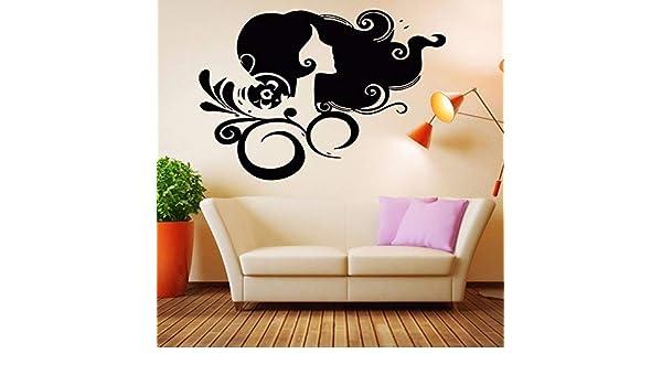 ljradj Peluquería salón de Belleza Pegatinas de Pared para Sala de Estar decoración del Arte Tatuajes de Pared Dormitorio salón de Belleza decoración del hogar murales Rosa 83X57cm: Amazon.es: Hogar
