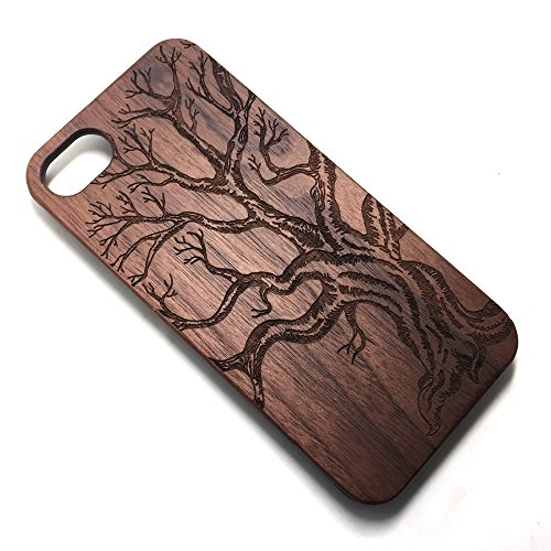 iPhone SE/5/5S wooden Case, Real Wooden Handmade Unique Pattern Carving Wood With Hard Plastic Back Skin Case Cover For iphone 5/5S/SE (Dead tree)