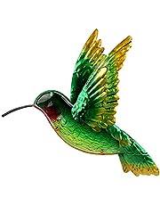 Mannsfy Metal Wall Art Outdoor Hanging Decor Decorative Green Hummingbird Garden Statues for Patio