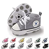 ENERCAKE Baby Boys Girls Canvas Shoes Basic Sneakers Lace Up Infant Newborn First Walker Prewalker Shoes(0-18 Months) (0-6 Months M US Infant, A-Grey)