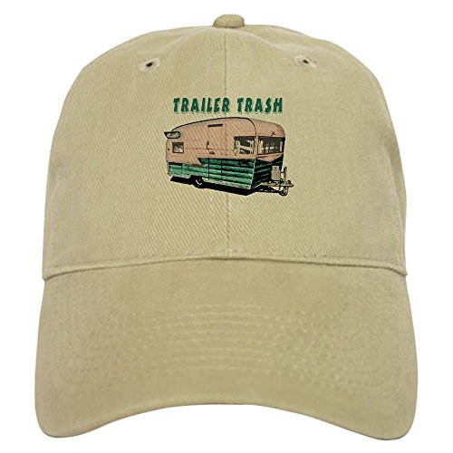 CafePress Trailer Trash Baseball Cap with Adjustable Closure, Unique Printed Baseball Hat Khaki (Best Teardrop Trailer For The Money)