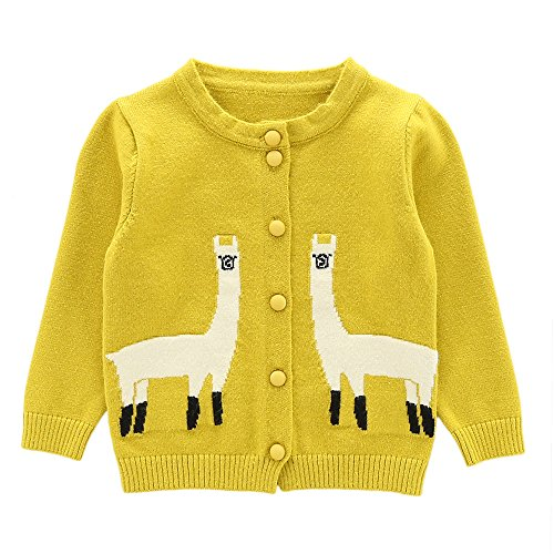 Moonnut Girls Cardigan Sweaters Cute Alpaca Pattern Long Sleeve Knitted Outwear (18-24months, (Yellow Kids Sweater)