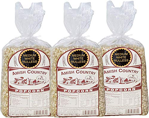 Amish Country Popcorn - 3 (2 Pound Bags) Medium White Popcorn Gift Set Old Fashioned, Non GMO and Gluten Free - With Recipe Guide