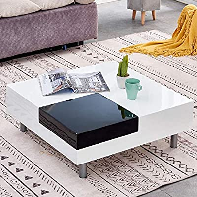 Huisen Furniture White High Gloss Coffee Table Low For