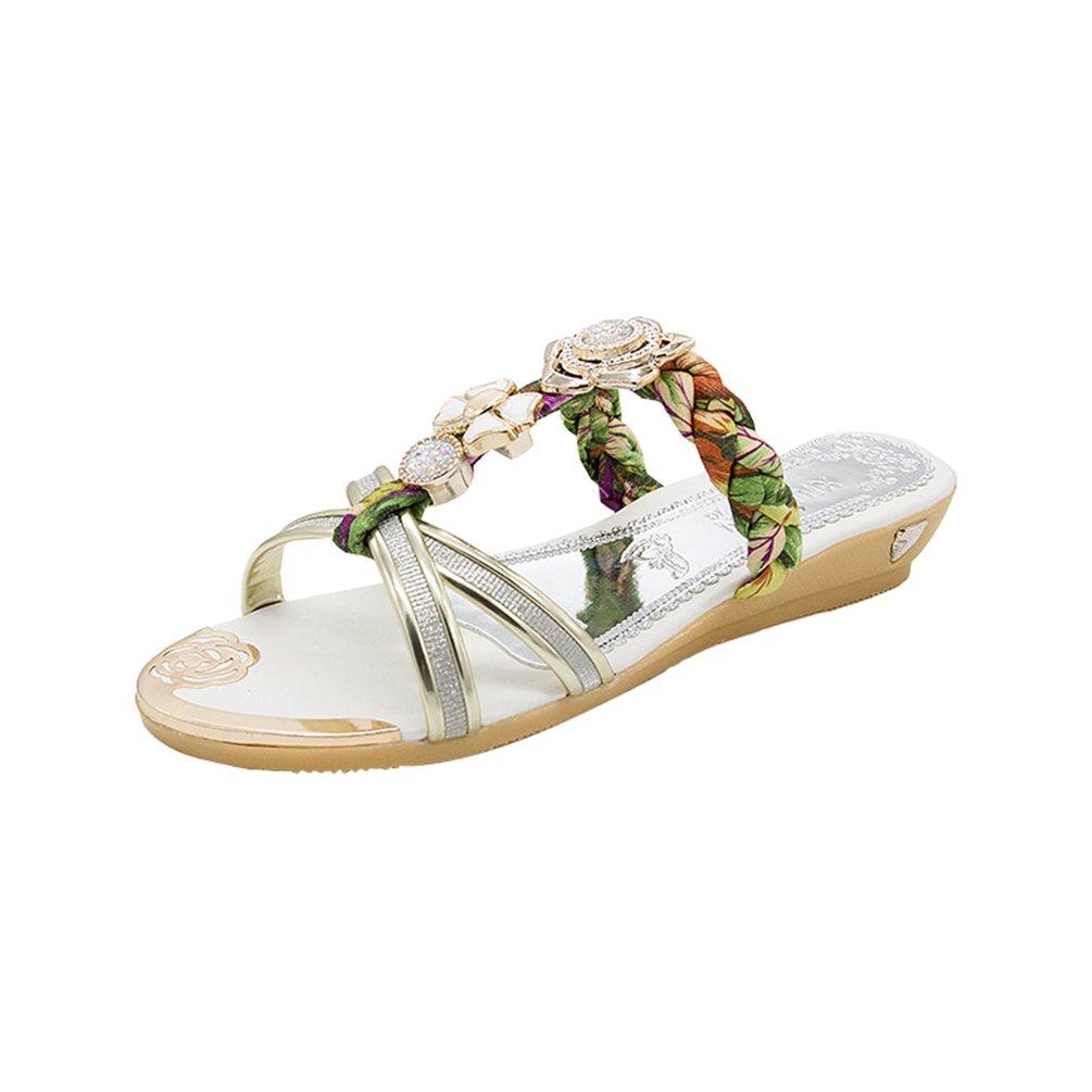 LvRaoo Damen T-Strap Sandalen mit Strass Zehentrenner Open-Toe Blumen Hausschuhe Bohemian Keilabsatz Slippers  Asien 38|Gold