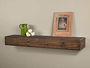 Dakota Rustic Pine Wood Fireplace Mantel Shelf (48-Inch, Mocha)