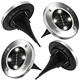 AndThere 4Pcs 4 LED Solar Garden Light Waterproof Ground Security Lights Landscape Lamp Decorative Lights for Lawn Pathway Yard Driveway Patio Walkway Stairway Pool Area Outdoor - Cool White
