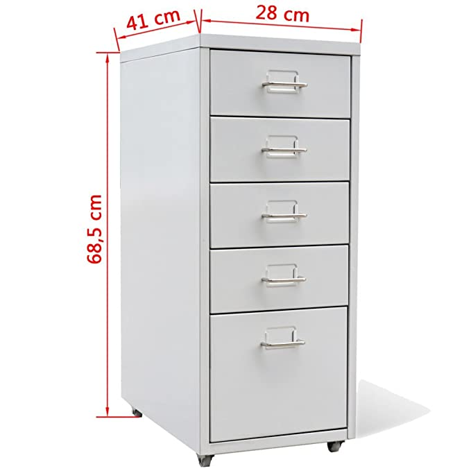 Amazon.com : Festnight 5-Drawer Mobile Metal Filing Cabinet for Home Office, 11