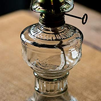Glass Kerosene lamp Oil lamp Retro Transparent Desktop Oil lamp Home Emergency lamp Outdoor Windproof Glass Camping Tent lamp Color: Transparent 19cm