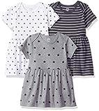 Amazon Essentials Baby Girls 3-Pack Dress, Neutral Star Stripe, Newborn