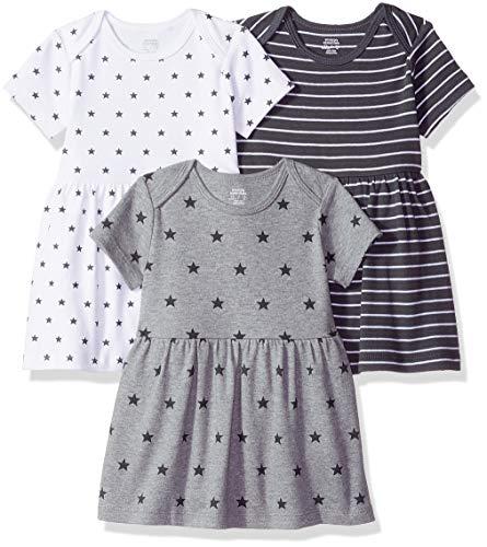 Amazon Essentials Baby Girls 3-Pack Dress, Neutral Star Stripe, 12M