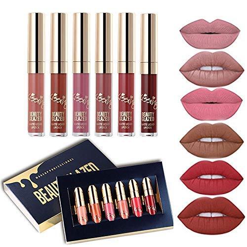 Beauty Glazed 6 PCS Matte Liquid Lipstick set Waterproof Long Lasting Birthday Edition Durable Liquid Lipgloss Beauty Cosmetics Makeup Set