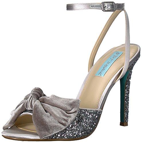 (Blue by Betsey Johnson Women's SB-Jilly Heeled Sandal, Silver Glitter, 6 M)