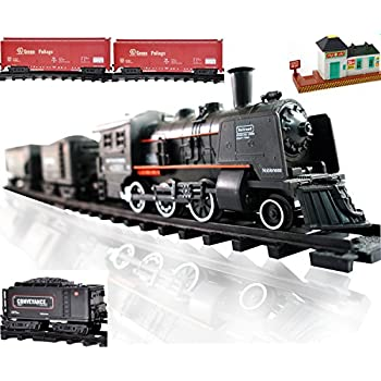 Railway King Steam Locomotive Classical Freight Train Playset with Lights and Train Sound