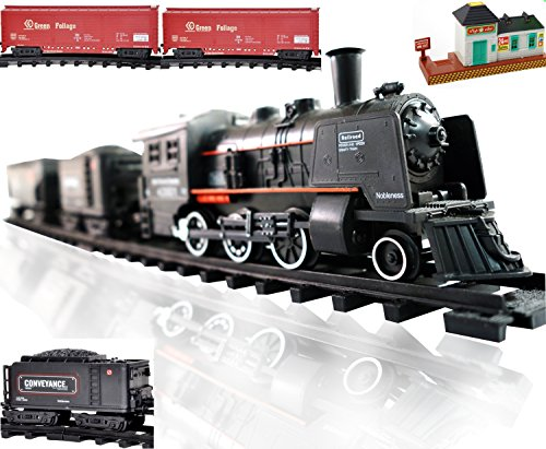 Railway King Electric Steam Locomotive Classical Train Playset with Lights and Train Sound