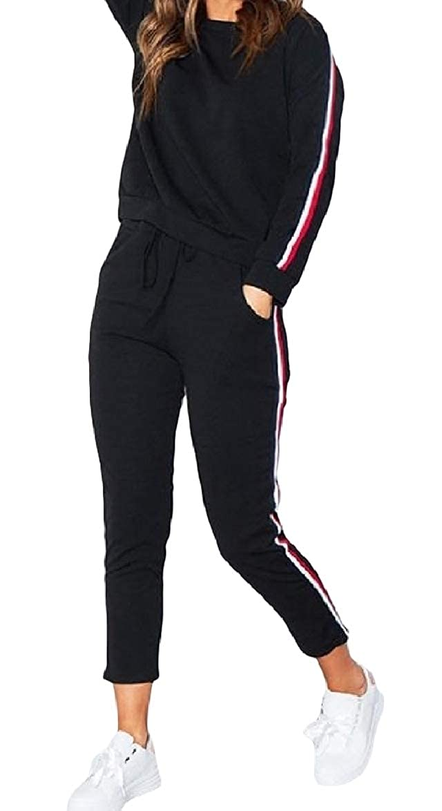 SportsX Women Long Sleeve Stylish Stripes Leisure 2 Piece Patched Set Tracksuit