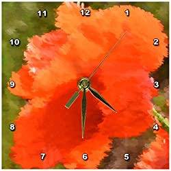 3dRose dc_47272_1 Painted Red Poppy Flowers Floral Art Desk Clock, 6 by 6-Inch