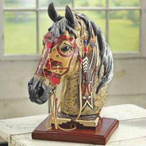 Wolf Spirit Horse 13 Inch Hand Decoraterd Statue with Genuine Buckskin Mask # HSWS ()