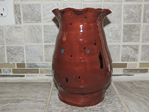 Hand Made Ceramic Vase. Beautiful Brown/Rust speckled glaze. Measures 7.6 x 5..