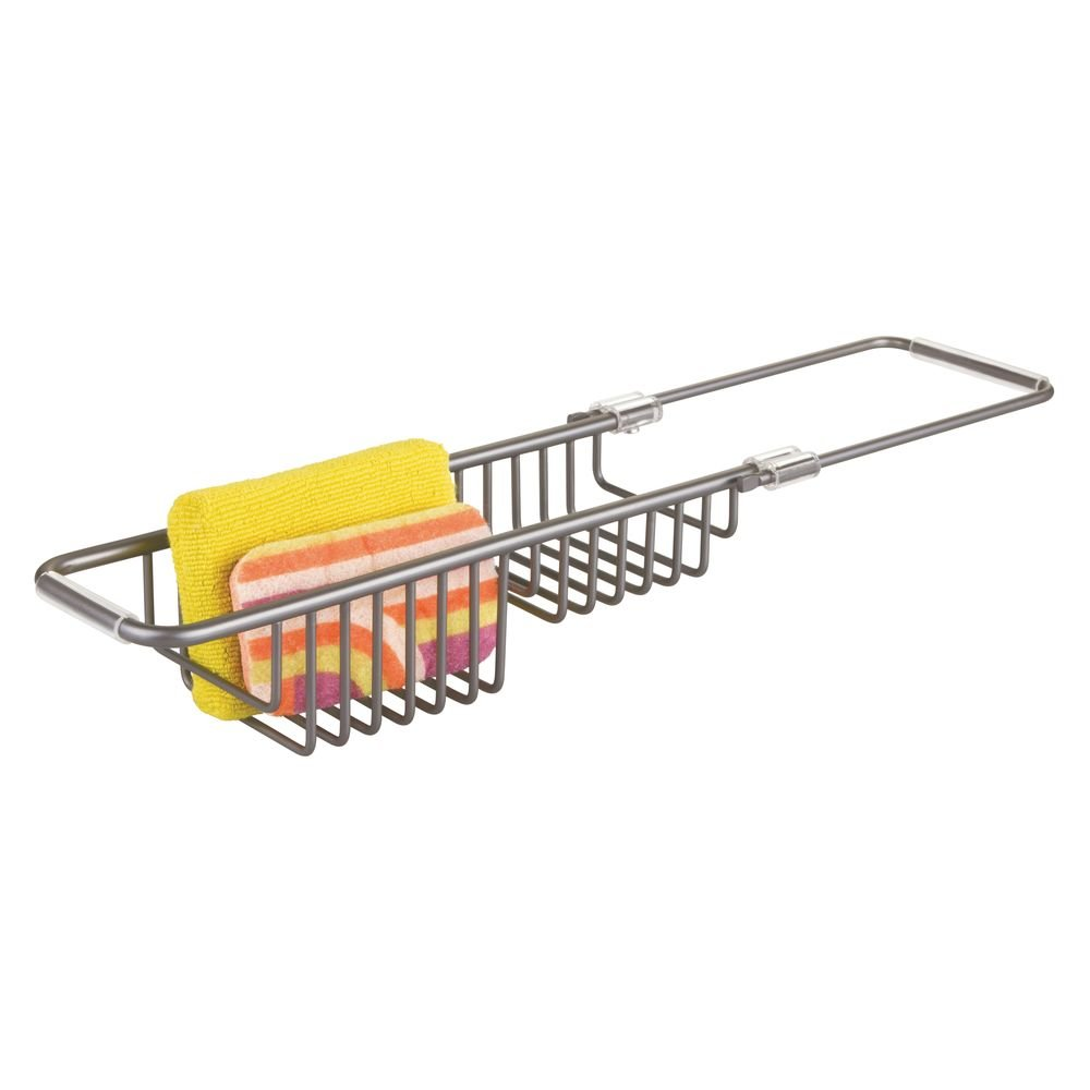 mDesign Porta spugne per lavandino – Organizer lavello in alluminio – Contenitore per spugne e detersivo per piatti – grigio MetroDecor