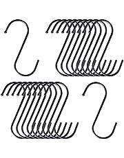 20pcs Black S-Shaped Kitchen Hook, Heavy Duty S Hooks S Hangers for Kitchen, Office, Bathroom, Garden and Cloakroom